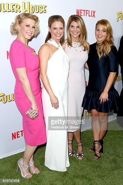 Actresses Jodie Sweetin Andrea Barber Jodie Sweetin and Andrea Barber and Candace CameronBure attend the premiere of Netflix's 'Fuller House' at...