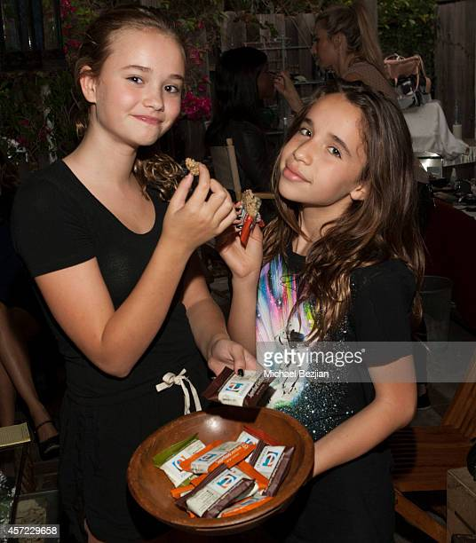 Actresses Johnny Sequoyah and Jade Mars attends Elemental Superfood Hosts The Starving Artists Project Backstage on October 14 2014 in Los Angeles...