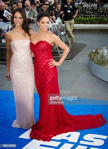 US actresses Jordana Brewster and Michelle Rodriguez arrive at the world premiere of 'Fast and Furious 6' at the Empire cinema in Leicester Square in...