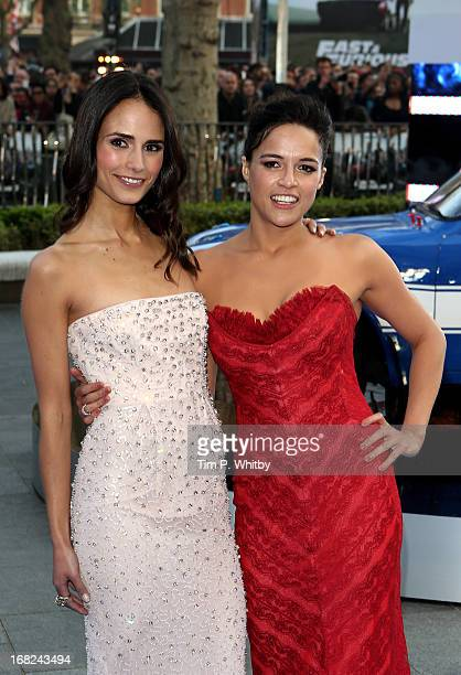 Actresses Jordana Brewster and Michelle Rodriguez attends the World Premiere of 'Fast Furious 6' at Empire Leicester Square on May 7 2013 in London...
