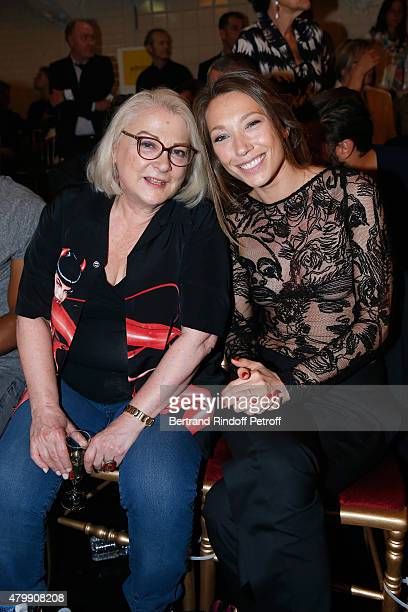 Actresses Josiane Balasko and Laura Smet attend the Jean Paul Gaultier show as part of Paris Fashion Week Haute Couture Fall/Winter 2015/2016 on July...