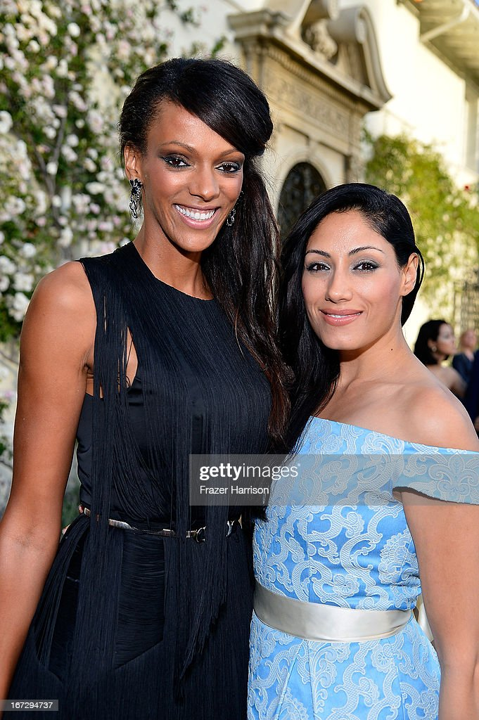 Actresses Judi Shekoni (L) and Tehmina Sunny attend the launch of the Seventh Annual BritWeek Festival 'A Salute To Old Hollywood' on April 23, 2013 in Los Angeles, California.
