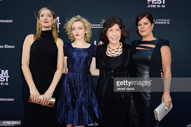 Actresses Judy Greer Julia Garner Lily Tomlin and Marcia Gay Harden attend the opening night premiere of 'Grandma' during the 2015 Los Angeles Film...