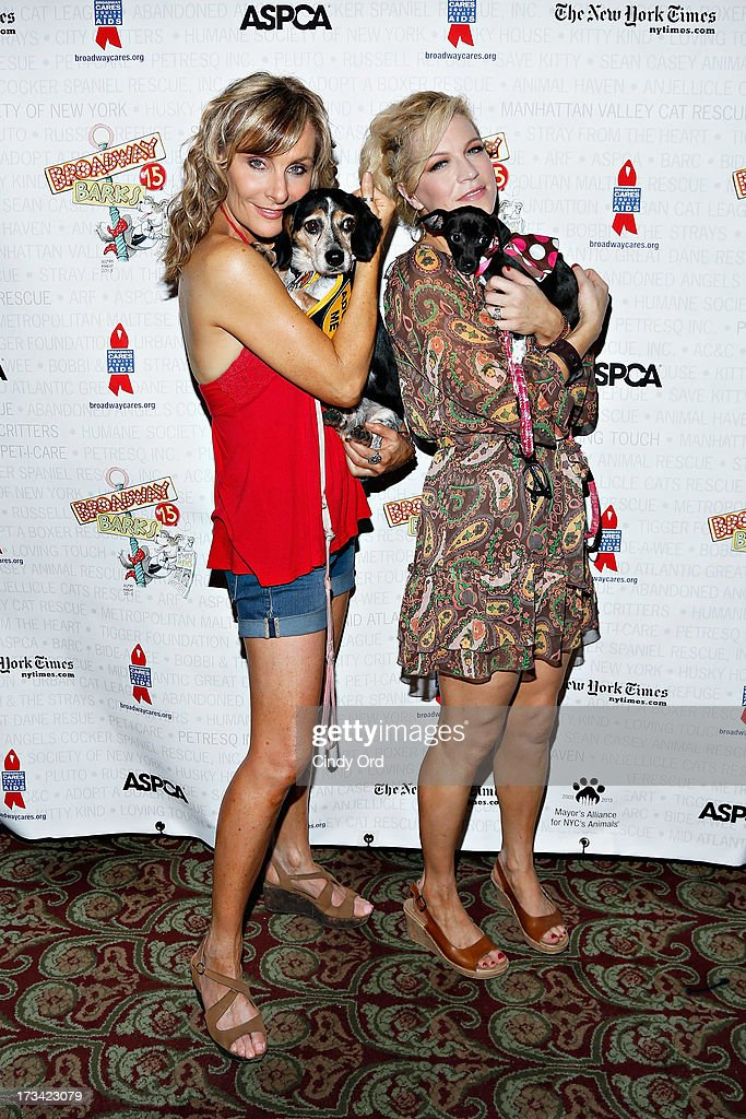 Actresses Judy McLane and Felicia Finley attend the Broadway Barks 15th Animal Adoption Event at Shubert Alley on July 13, 2013 in New York City.