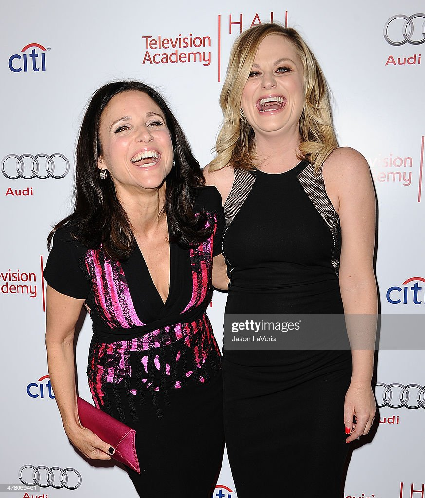 Actresses <a gi-track='captionPersonalityLinkClicked' href=/galleries/search?phrase=Julia+Louis-Dreyfus&family=editorial&specificpeople=208965 ng-click='$event.stopPropagation()'>Julia Louis-Dreyfus</a> and <a gi-track='captionPersonalityLinkClicked' href=/galleries/search?phrase=Amy+Poehler&family=editorial&specificpeople=228430 ng-click='$event.stopPropagation()'>Amy Poehler</a> attend the Television Academy's 23rd Hall of Fame induction gala at Regent Beverly Wilshire Hotel on March 11, 2014 in Beverly Hills, California.