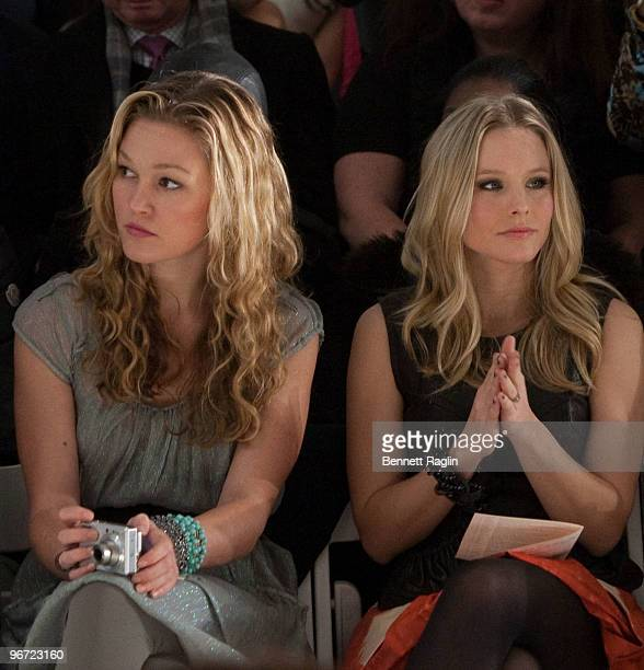 Actresses Julia Stiles and Kristian Bell attend Tracy Reese Fall 2010 during MercedesBenz Fashion Week at Bryant Park on February 15 2010 in New York...
