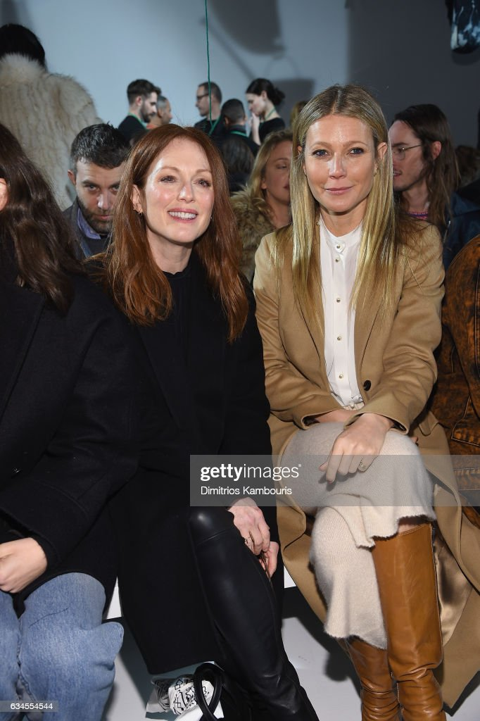 Actresses Julianne Moore (L) and Gwyneth Paltrow attend the Calvin Klein Collection Front Row during New York Fashion Week on February 10, 2017 in New York City.
