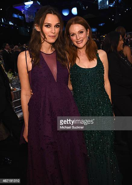 Actresses Julianne Moore and Keira Knightley attend TNT's 21st Annual Screen Actors Guild Awards cocktail reception at The Shrine Auditorium on...