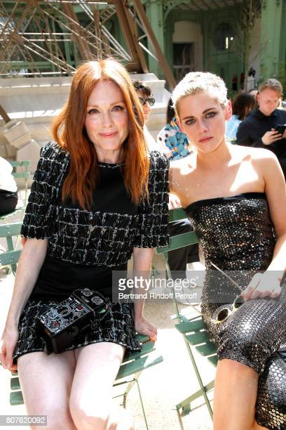 Actresses Julianne Moore and Kristen Stewart attend the Chanel Haute Couture Fall/Winter 20172018 show as part of Haute Couture Paris Fashion Week on...