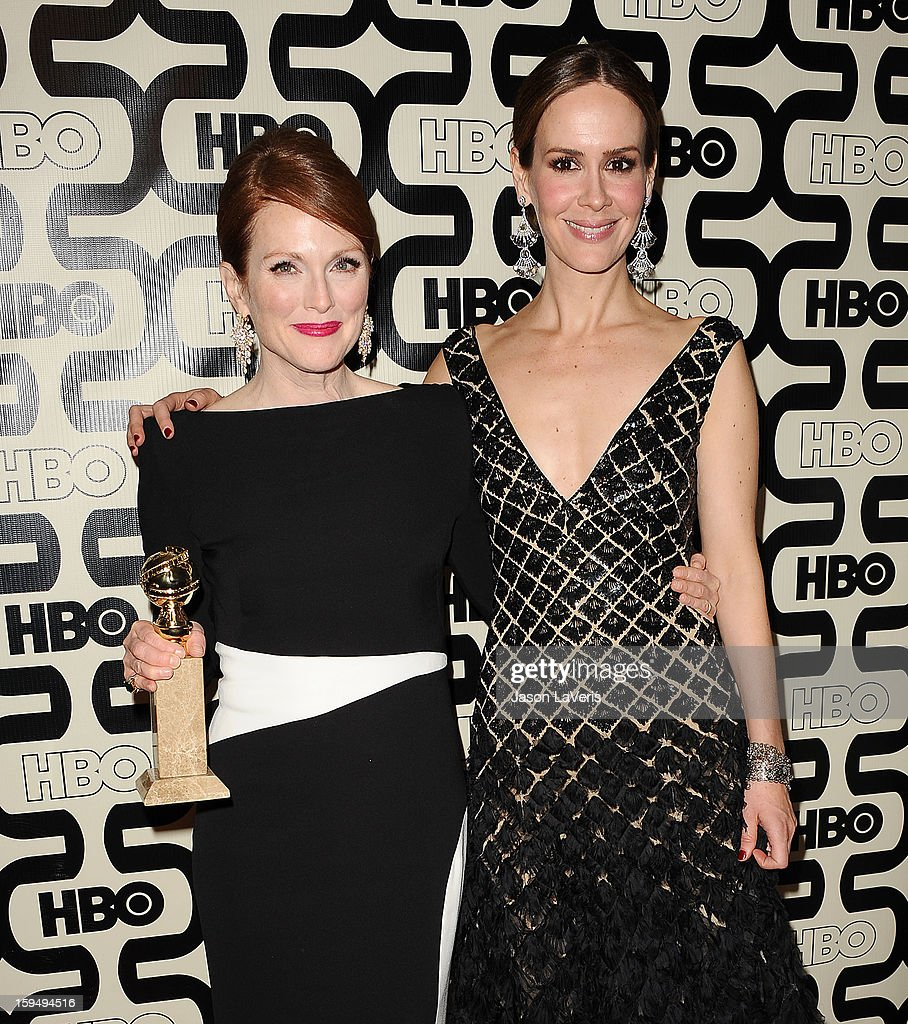 Actresses <a gi-track='captionPersonalityLinkClicked' href=/galleries/search?phrase=Julianne+Moore&family=editorial&specificpeople=171555 ng-click='$event.stopPropagation()'>Julianne Moore</a> and <a gi-track='captionPersonalityLinkClicked' href=/galleries/search?phrase=Sarah+Paulson&family=editorial&specificpeople=220657 ng-click='$event.stopPropagation()'>Sarah Paulson</a> attend the HBO after party at the 70th annual Golden Globe Awards at Circa 55 restaurant at the Beverly Hilton Hotel on January 13, 2013 in Los Angeles, California.