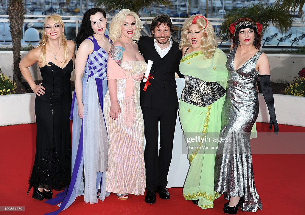 Actresses Julie Atlas Muz, Evie Lovell, Mimi Le Meaux, winner of the award for Best Director Mathieu Amalric, Dirty Martini and Kitten on the Keys attend the Palme d'Or Award Ceremony Photo Call held at the Palais des Festivals during the 63rd Annual International Cannes Film Festival on May 23, 2010 in Cannes, France.