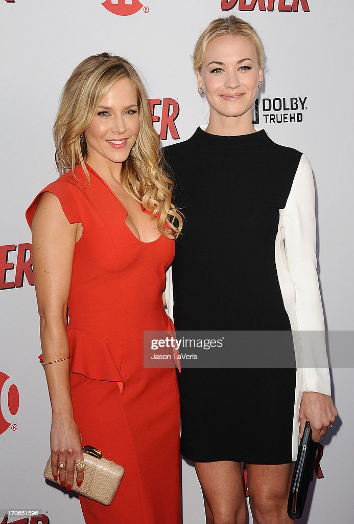Actresses Julie Benz and Yvonne Strahovski attend the 'Dexter' series finale season premiere party at Milk Studios on June 15, 2013 in Hollywood, California.