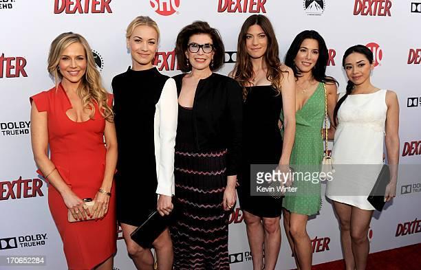 Actresses Julie Benz Yvonne Strahovski executive producer Sara Colleton actresses Jennifer Carpenter Jaime Murray and Aimee Garcia arrive at the...