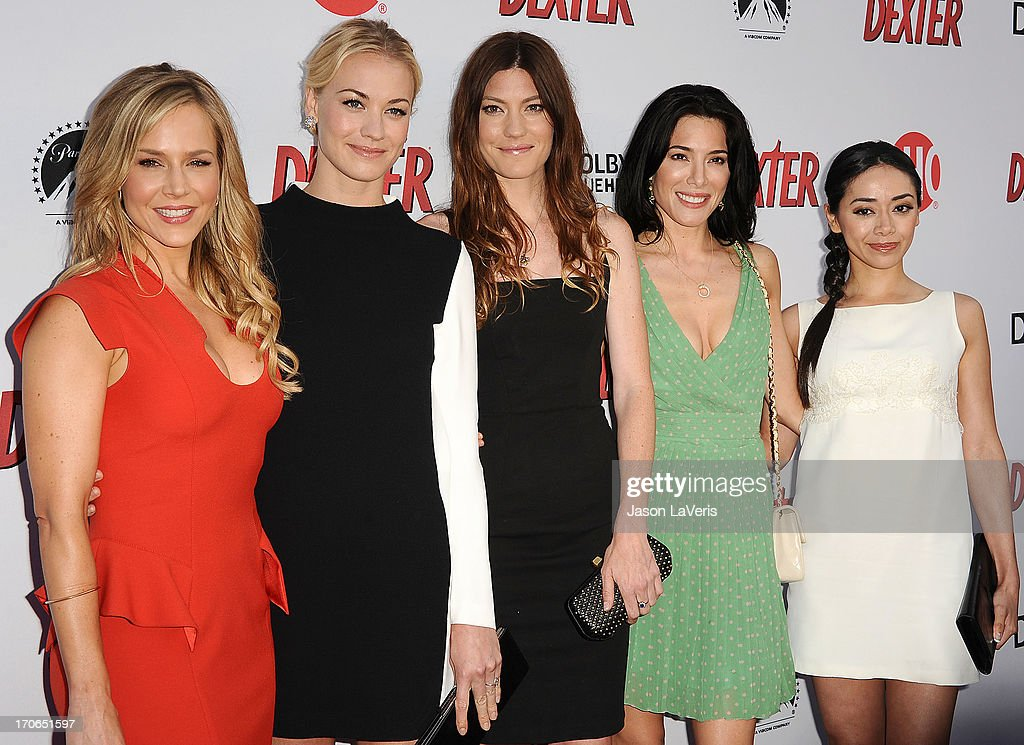 Actresses <a gi-track='captionPersonalityLinkClicked' href=/galleries/search?phrase=Julie+Benz&family=editorial&specificpeople=217554 ng-click='$event.stopPropagation()'>Julie Benz</a>, <a gi-track='captionPersonalityLinkClicked' href=/galleries/search?phrase=Yvonne+Strahovski&family=editorial&specificpeople=4387578 ng-click='$event.stopPropagation()'>Yvonne Strahovski</a>, <a gi-track='captionPersonalityLinkClicked' href=/galleries/search?phrase=Jennifer+Carpenter&family=editorial&specificpeople=595643 ng-click='$event.stopPropagation()'>Jennifer Carpenter</a>, <a gi-track='captionPersonalityLinkClicked' href=/galleries/search?phrase=Jaime+Murray+-+Sk%C3%A5despelerska&family=editorial&specificpeople=217455 ng-click='$event.stopPropagation()'>Jaime Murray</a> and <a gi-track='captionPersonalityLinkClicked' href=/galleries/search?phrase=Aimee+Garcia&family=editorial&specificpeople=561569 ng-click='$event.stopPropagation()'>Aimee Garcia</a> attend the 'Dexter' series finale season premiere party at Milk Studios on June 15, 2013 in Hollywood, California.