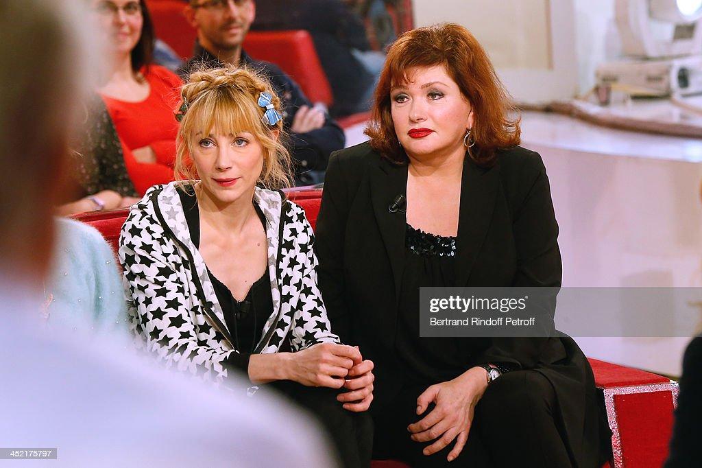 Actresses Julie Depardieu and Catherine Jacob attend 'Vivement Dimanche' French TV Show at Pavillon Gabriel on November 26, 2013 in Paris, France.