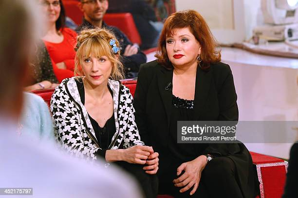 Actresses Julie Depardieu and Catherine Jacob attend 'Vivement Dimanche' French TV Show at Pavillon Gabriel on November 26 2013 in Paris France