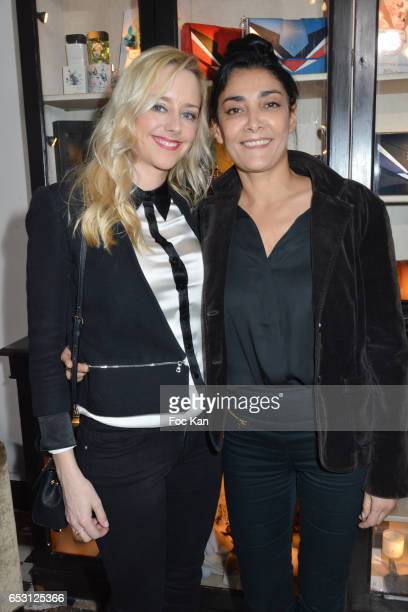 Actresses Julie Nicolet and Fatima Adoum attend William Arlotti Show at Hotel Lancaster Hosted by Domaine de La Croix wines on March 13 2017 in Paris...