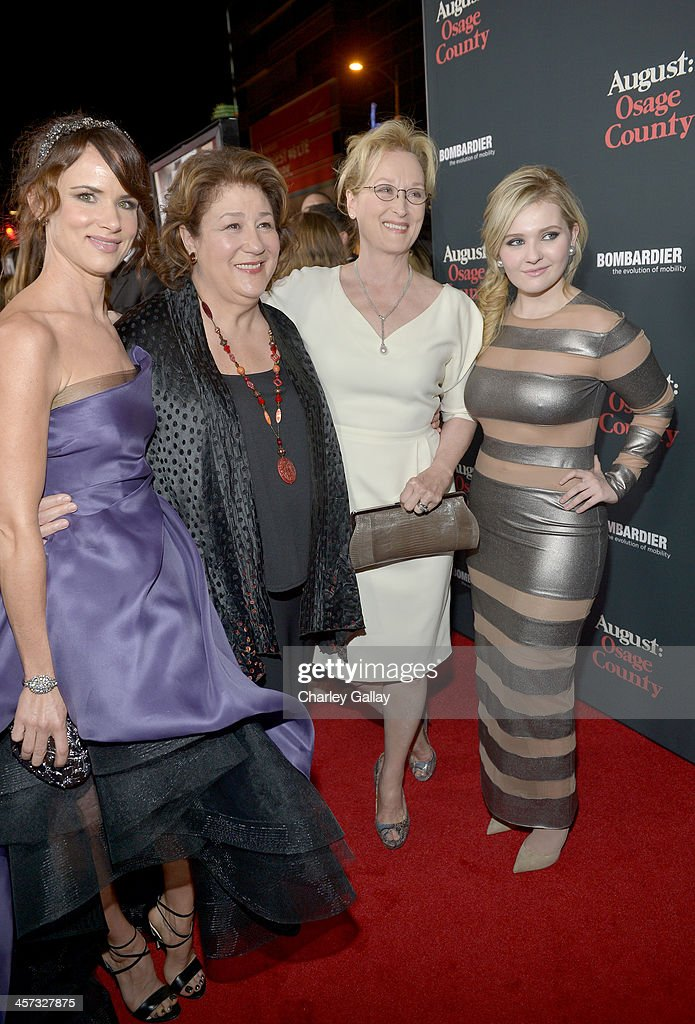 Actresses Juliette Lewis, Margo Martindale, Meryl Streep and Abigail Breslin attend the LA premiere Of 'August: Osage County' presented by The Weinstein Company in partnership with Bombardier at Regal Cinemas L.A. Live on December 16, 2013 in Los Angeles, California.