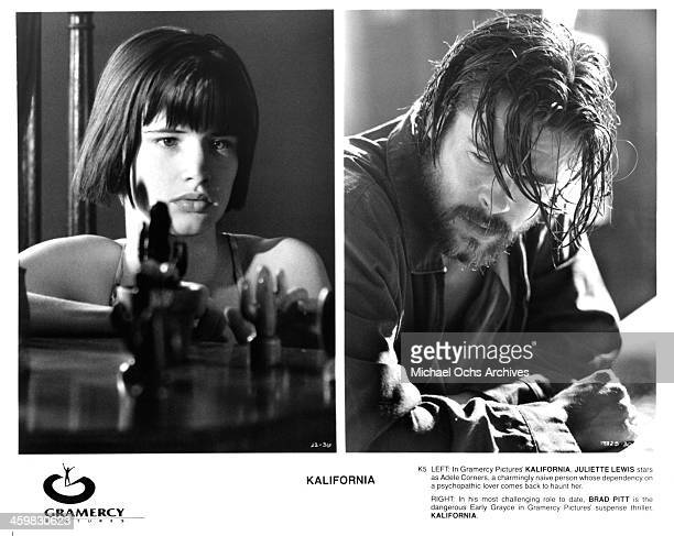 Actresses Juliette Lewis on set actor Brad Pitt on set of the movie 'Kalifornia ' circa 1993