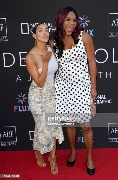 Actresses Julissa Bermudez and Blossom C Brown attend Trans Talk A Conversation About Identity at NeueHouse Hollywood on June 20 2017 in Los Angeles...