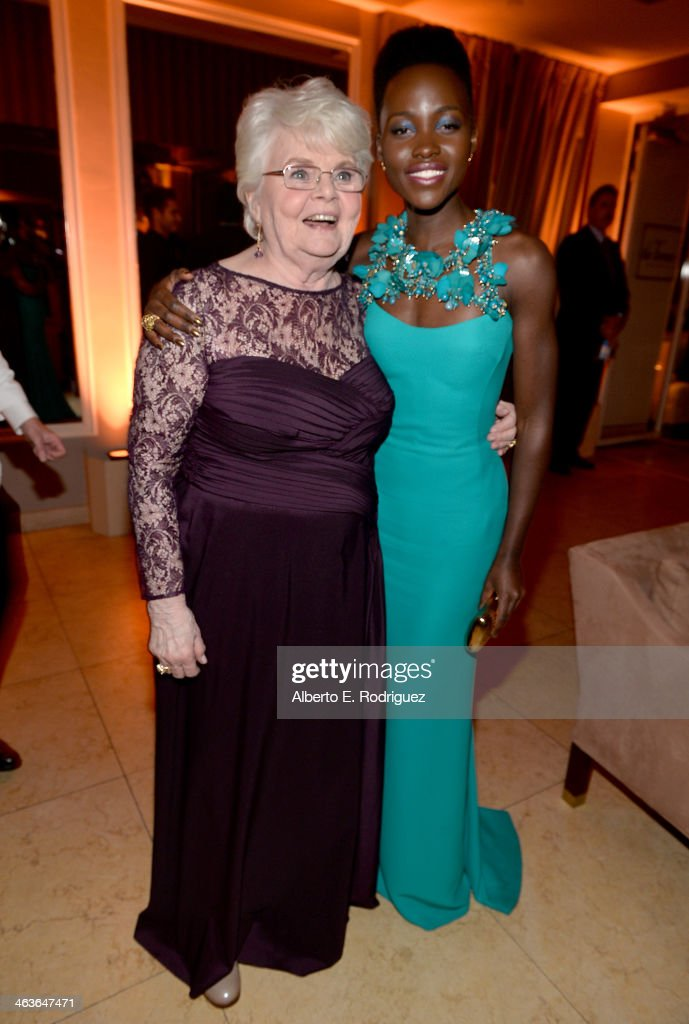Actresses <a gi-track='captionPersonalityLinkClicked' href=/galleries/search?phrase=June+Squibb&family=editorial&specificpeople=3089431 ng-click='$event.stopPropagation()'>June Squibb</a> (L) and <a gi-track='captionPersonalityLinkClicked' href=/galleries/search?phrase=Lupita+Nyong%27o&family=editorial&specificpeople=10961876 ng-click='$event.stopPropagation()'>Lupita Nyong'o</a> attend the Weinstein Company & Netflix's 2014 SAG after party in partnership with Laura Mercier at Sunset Tower on January 18, 2014 in West Hollywood, California.