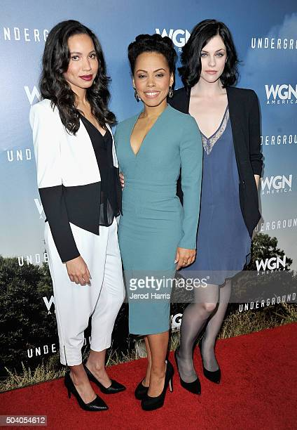 Actresses Jurnee SmollettBell Amirah Vann and Jessica de Gouw attend the WGN America Winter 2016 TCA Press Tour for 'Underground' at The Langham...
