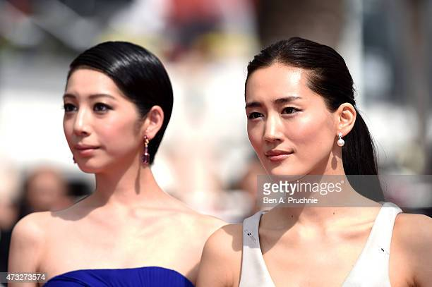 Actresses Kaho and Haruka Ayase attend the Premiere of 'Umimachi Diary' during the 68th annual Cannes Film Festival on May 14 2015 in Cannes France