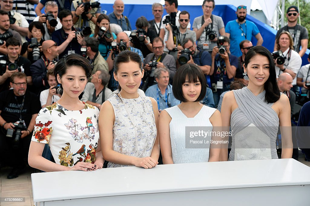 Actresses Kaho, Haruka Ayase, Suzu Hirose and Masami Nagasawa attend a photocall for 'Umimachi Diary' ('Our Little Sister') during the 68th annual Cannes Film Festival on May 14, 2015 in Cannes, France.