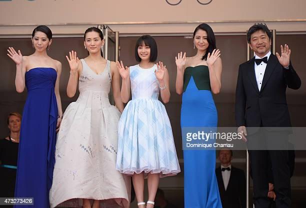 Actresses Kaho Haruka Ayase Suzu Hirose Masami Nagasawa and director Hirokazu Koreeda attend the 'Umimachi Diary' photocall during the 68th annual...
