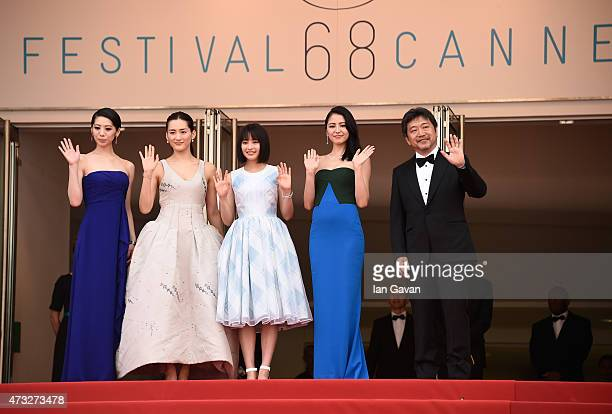 Actresses Kaho Haruka Ayase Suzu Hirose Masami Nagasawa and director Hirokazu Koreeda attend the Premiere of 'Umimachi Diary' during the 68th annual...