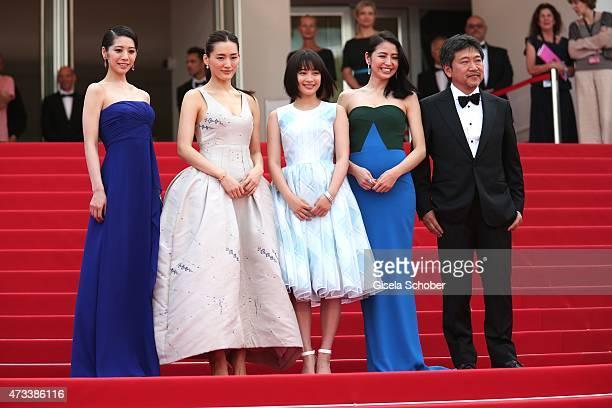 Actresses Kaho Haruka Ayase Suzu Hirose Masami Nagasawa and director Hirokazu Koreeda attend the Premiere of 'Umimachi Diary' during the 68th annual...