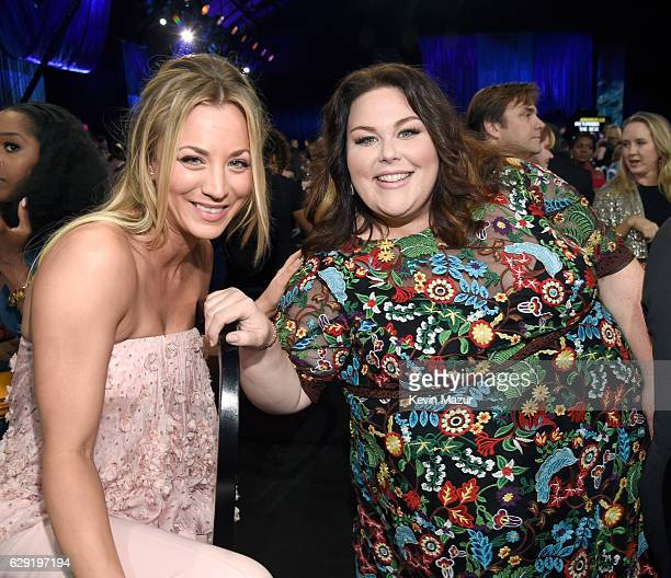 Actresses Kaley Cuoco and Chrissy Metz attend The 22nd Annual Critics' Choice Awards at Barker Hangar on December 11 2016 in Santa Monica California