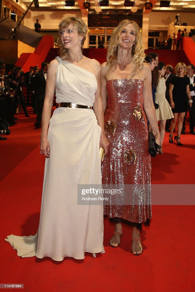 Actresses Karin Viard and Sandrine Kiberlain attend the 'Polisse' premiere at the Palais des Festivals during the 64th Cannes Film Festival on May 13, 2011 in Cannes, France.