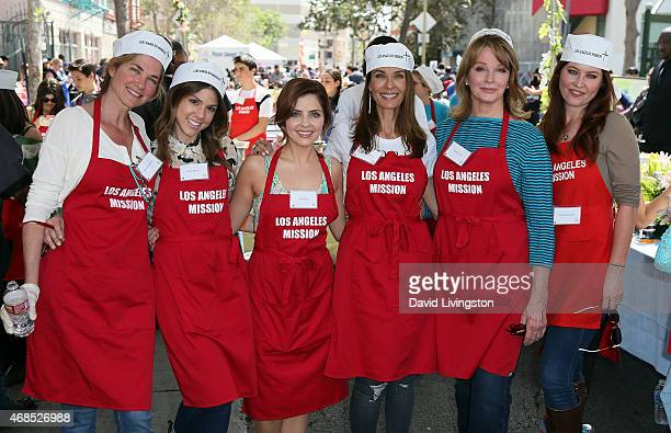 Actresses Kassie DePaiva Kate Mansi Jen Lilley Kristian Alfonso Deidre Hall and Melissa Archer attend the Los Angeles Mission Easter event at the Los...
