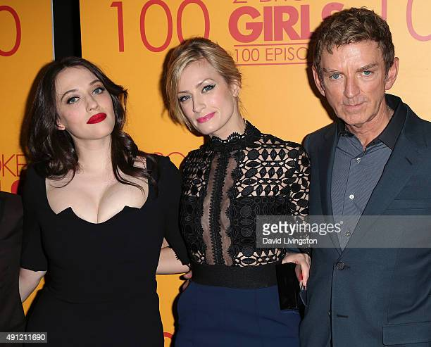 Actresses Kat Dennings and Beth Behrs and executive producer/writer Michael Patrick King attend the 100th episode celebration of CBS' '2 Broke Girls'...