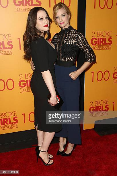 Actresses Kat Dennings and Beth Behrs attend the 100th episode celebration of CBS' '2 Broke Girls' held at Mrs Fish on October 3 2015 in Los Angeles...