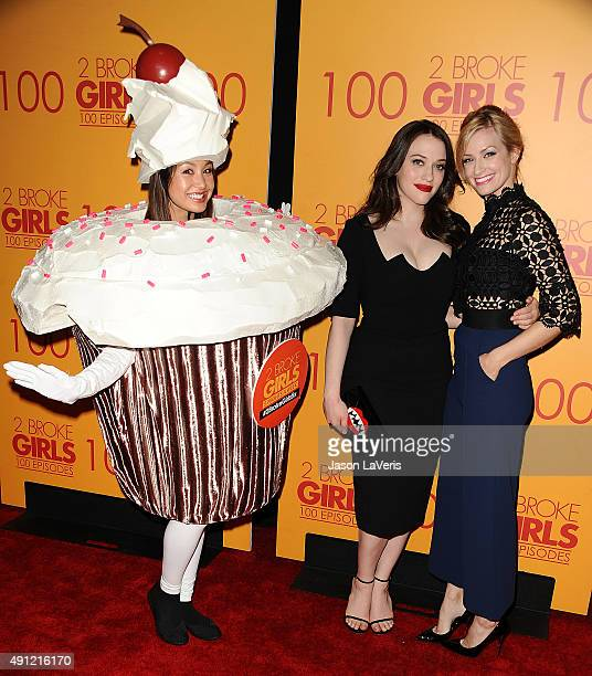 Actresses Kat Dennings and Beth Behrs attend the 100th episode celebration of CBS' '2 Broke Girls' at Mrs Fish on October 3 2015 in Los Angeles...