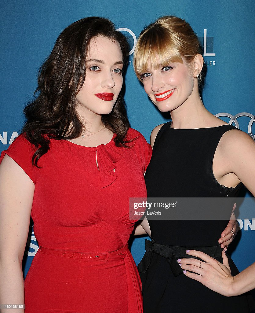 Actresses <a gi-track='captionPersonalityLinkClicked' href=/galleries/search?phrase=Kat+Dennings&family=editorial&specificpeople=846118 ng-click='$event.stopPropagation()'>Kat Dennings</a> and <a gi-track='captionPersonalityLinkClicked' href=/galleries/search?phrase=Beth+Behrs&family=editorial&specificpeople=6556378 ng-click='$event.stopPropagation()'>Beth Behrs</a> attend the Backstage at the Geffen annual fundraiser at Geffen Playhouse on March 22, 2014 in Los Angeles, California.