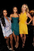 Actresses Kat Graham Nina Dobrev and Candice Accola attend the 2012 Teen Choice Awards at Gibson Amphitheatre on July 22 2012 in Universal City...