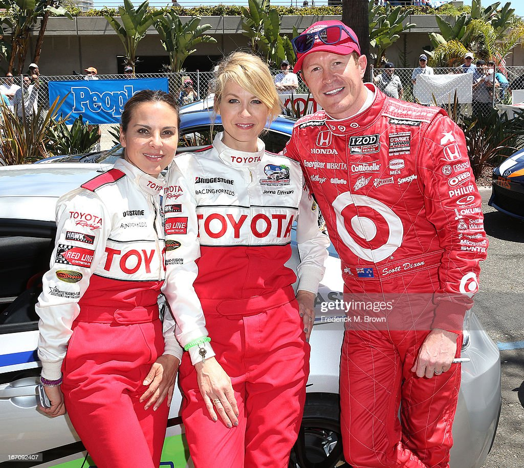 Actresses Kate Del Castillo and <a gi-track='captionPersonalityLinkClicked' href=/galleries/search?phrase=Jenna+Elfman&family=editorial&specificpeople=204782 ng-click='$event.stopPropagation()'>Jenna Elfman</a> and Indy Car driver <a gi-track='captionPersonalityLinkClicked' href=/galleries/search?phrase=Scott+Dixon&family=editorial&specificpeople=183395 ng-click='$event.stopPropagation()'>Scott Dixon</a> attend the 37th Annual Toyota Pro/Celebrity Race qualifying on April 19, 2013 in Long Beach, California.