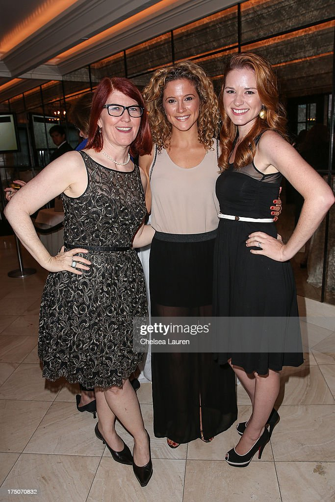 Actresses <a gi-track='captionPersonalityLinkClicked' href=/galleries/search?phrase=Kate+Flannery&family=editorial&specificpeople=580714 ng-click='$event.stopPropagation()'>Kate Flannery</a>, Alexis Carra and <a gi-track='captionPersonalityLinkClicked' href=/galleries/search?phrase=Sarah+Drew&family=editorial&specificpeople=2084031 ng-click='$event.stopPropagation()'>Sarah Drew</a> attend The Jefferson Hotel D.C. vintage wine tasting summer soiree at Hotel Bel-Air on July 30, 2013 in Los Angeles, California.