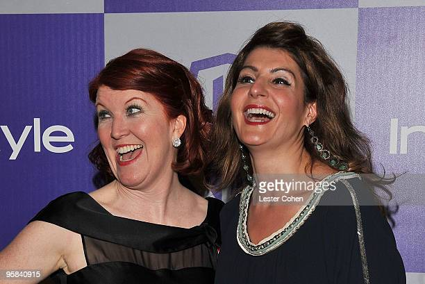 Actresses Kate Flannery and Nia Vardalos attend the InStyle and Warner Bros 67th Annual Golden Globes post party held at the Oasis Courtyard at The...