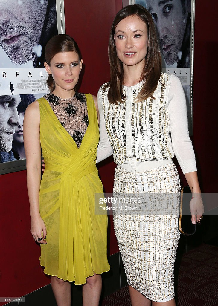 Actresses Kate Mara (L) and Olivia Wilde attend the Premiere of Magnolia Pictures' 'Deadfall' at the ArcLight Cinemas on November 29, 2012 in Hollywood, California.