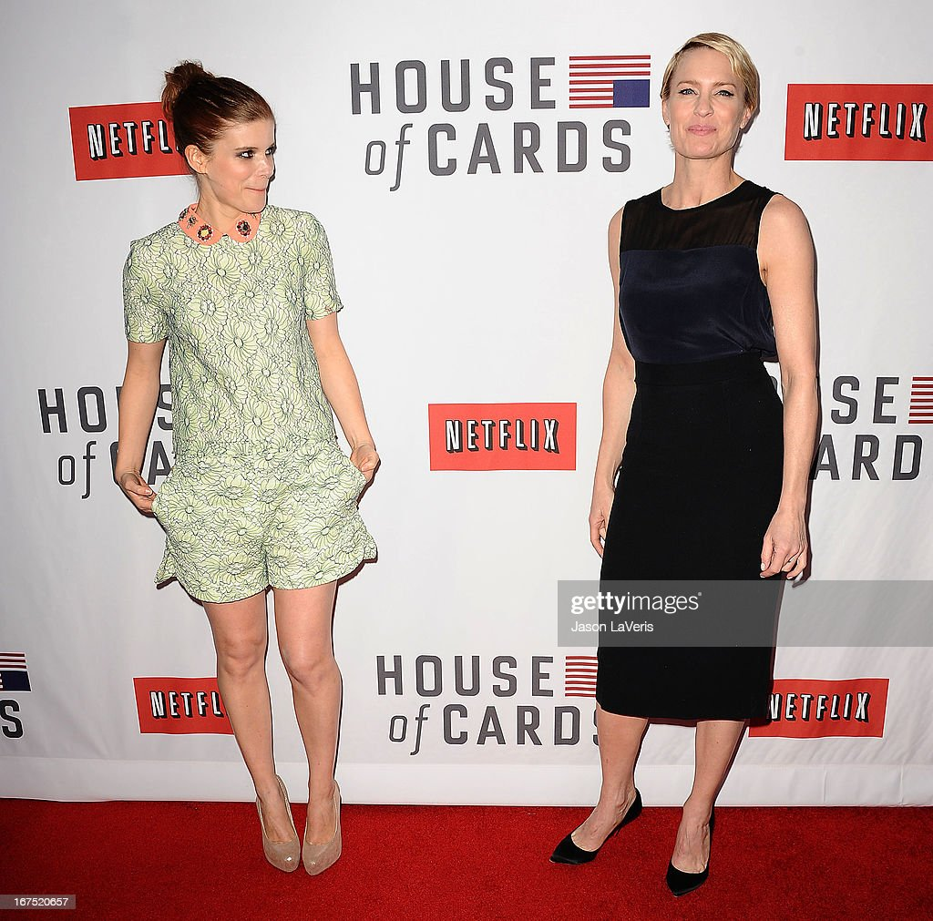 Actresses <a gi-track='captionPersonalityLinkClicked' href=/galleries/search?phrase=Kate+Mara&family=editorial&specificpeople=544680 ng-click='$event.stopPropagation()'>Kate Mara</a> and <a gi-track='captionPersonalityLinkClicked' href=/galleries/search?phrase=Robin+Wright&family=editorial&specificpeople=207147 ng-click='$event.stopPropagation()'>Robin Wright</a> attend a Q&A for 'House Of Cards' at Leonard H. Goldenson Theatre on April 25, 2013 in North Hollywood, California.