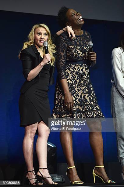 Actresses Kate McKinnon and Leslie Jones speak onstage during CinemaCon 2016 An Evening with Sony Pictures Entertainment Celebrating the Summer of...
