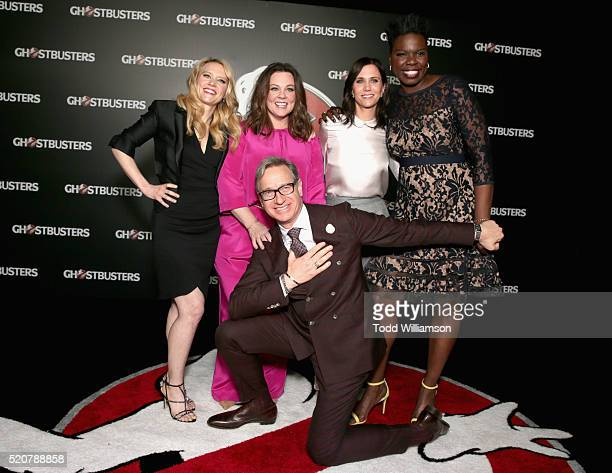 Actresses Kate McKinnon Melissa McCarthy Kristen Wiig Leslie Jones and 'Ghostbusters' director Paul Feig attend CinemaCon 2016 An Evening with Sony...