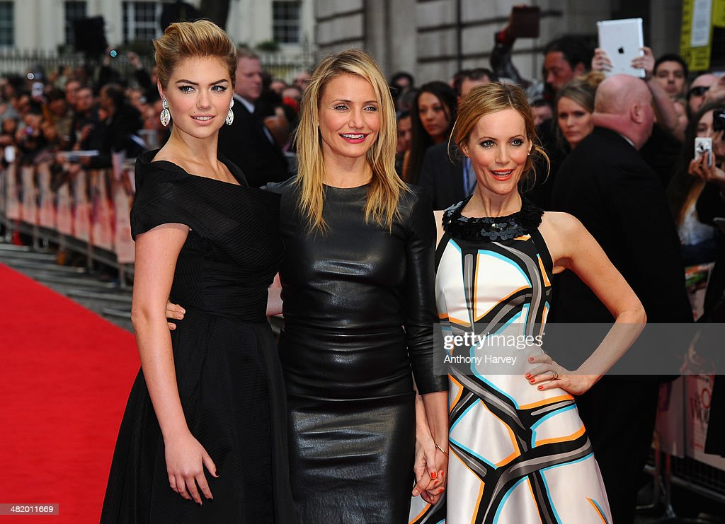 Actresses Kate Upton, Cameron Diaz and Leslie Mann attend 'The Other Woman' UK premiere at the Curzon Mayfair on April 2, 2014 in London, England.
