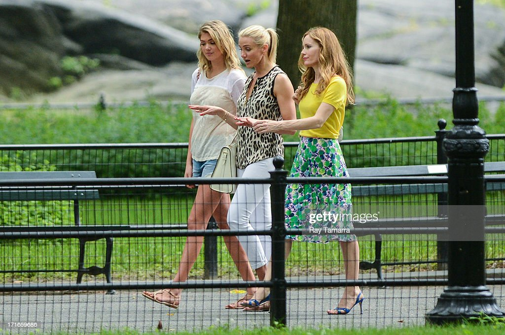 Actresses <a gi-track='captionPersonalityLinkClicked' href=/galleries/search?phrase=Kate+Upton&family=editorial&specificpeople=7488546 ng-click='$event.stopPropagation()'>Kate Upton</a>, <a gi-track='captionPersonalityLinkClicked' href=/galleries/search?phrase=Cameron+Diaz&family=editorial&specificpeople=201892 ng-click='$event.stopPropagation()'>Cameron Diaz</a>, and <a gi-track='captionPersonalityLinkClicked' href=/galleries/search?phrase=Leslie+Mann&family=editorial&specificpeople=595973 ng-click='$event.stopPropagation()'>Leslie Mann</a> film a scene at the 'Other Woman' movie set in Central Park on June 27, 2013 in New York City.