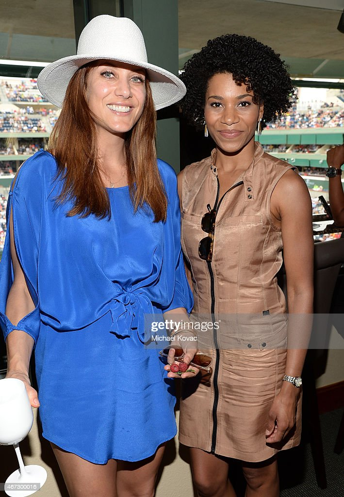 Actresses Kate Walsh and Kelly McCreary visit The Moet and Chandon Suite at the 2015 BNP Paribas Open on March 22 2015 in Indian Wells California