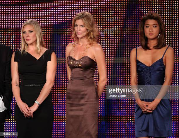 Actresses Katee Sackhoff Tricia Helfer and Grace Park attend the 25th Annual Television Critics Association Awards Ceremony at The Langham Resort on...